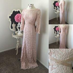 🌺 Adrianna Papell Long Blush Crochet Dress